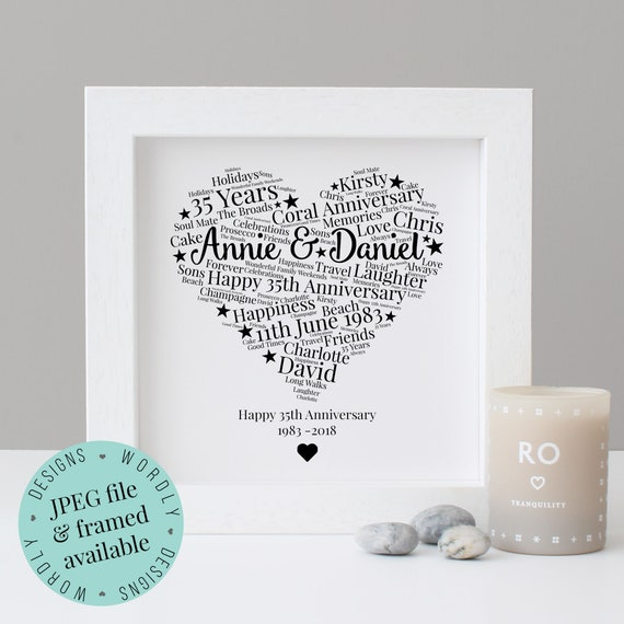 Personalised 35th Anniversary Gift Word Art Printable Gift Etsy