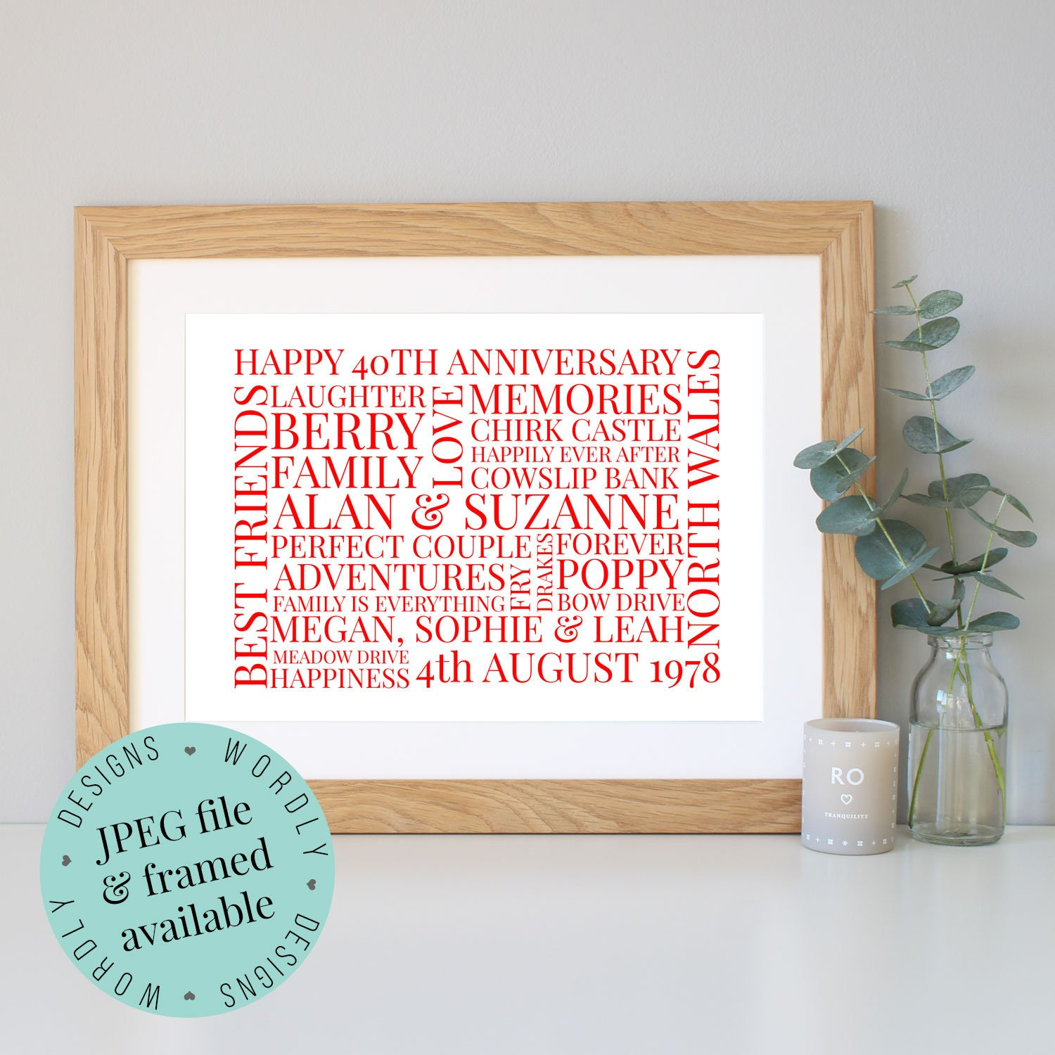 Personalised 40th ANNIVERSARY GIFT Word Art Framed Print | Etsy