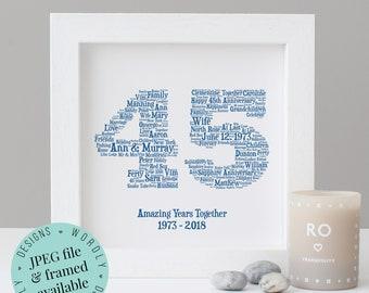 Personalised 45th ANNIVERSARY GIFT - Word Art - Printable Gift - Framed Print - 45th Wedding Anniversary - Sapphire - 45 Year Anniversary