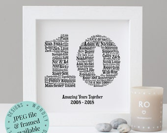 10TH ANNIVERSARY GIFT - Word Art - Printable Gift - Framed Print - 10 Year Anniversary - 10th Wedding Anniversary - Tin Anniversary - Wife