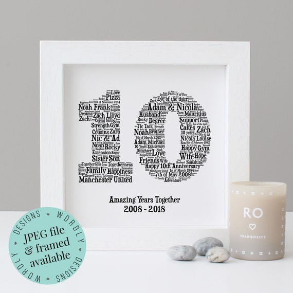 Australian Wedding Anniversary Gifts By Year: 10TH ANNIVERSARY GIFT Word Art Printable Gift Framed