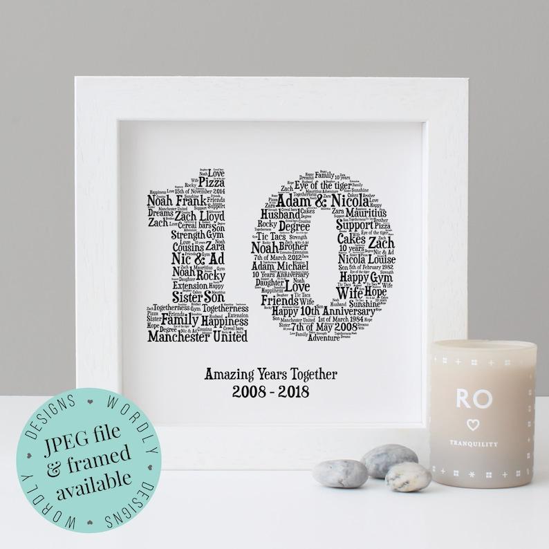 10TH ANNIVERSARY GIFT  Word Art  Printable Gift  Framed White box frame