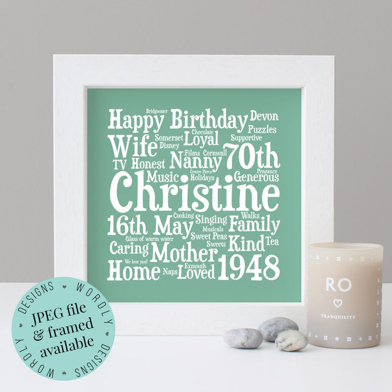 Personalised 70th BIRTHDAY GIFT Word Art Framed Print