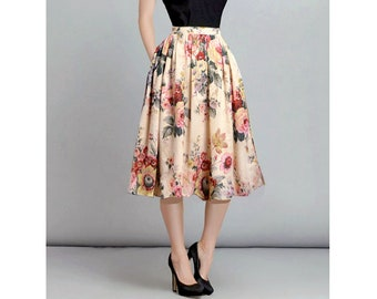 7cc09ff311f9 Ivory Floral Skirt, Midi Skirt, Cotton Skirt with Pockets