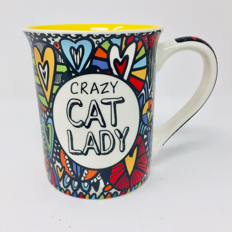 "Our Name is Mud /""Crazy Cat/"" Large Stoneware Cat Mug"