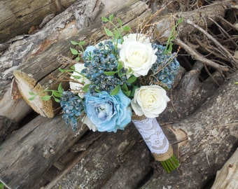 Rustic boho teal blue and cream white vintage bridal bouquet set