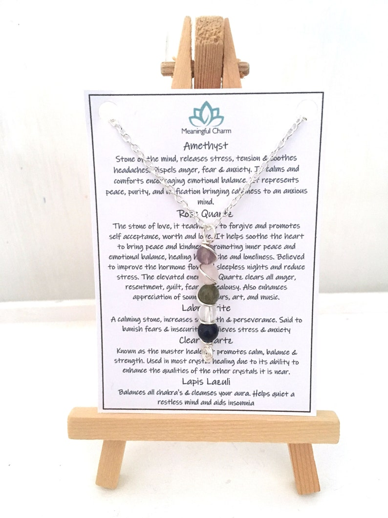 Stress Relief Anxiety Necklace Stress Necklace Anxiety Jewellery Healing Crystal Gift Stress Jewelry
