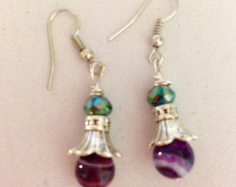 Purple and green flower earrings