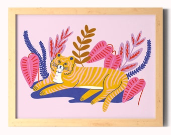 Tiger Wall Art Print A5, A4 / Illustrated Jungle Tiger Gallery Wall Poster / Pink Tropical Leaves Home Decor / Unframed.