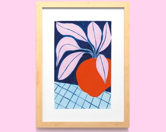 Abstract Plant Wall Art Print A5, A4 / Hand Painted Still Life Home Decor / Kitchen House Plant Illustrated Digital Poster / Unframed