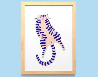 Fat Cat Wall Art Print A5, A4 / Hand Painted Cat Home Decor / Lazy Kitten Illustrated Digital Poster / Unframed