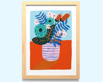 Flower Vase Wall Art Print A5, A4 / Hand Painted Still Life Home Decor / Floral Illustrated Digital Poster / Unframed