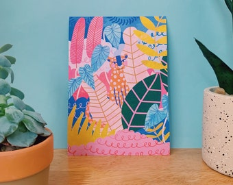 Leopard Wall Art Print A5, A4 / Illustrated Jungle Leopard Gallery Wall Poster / Pink Tropical Leaves Home Decor / Unframed.