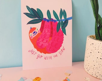 Sloth Wall Art Print A5, A4 / Personalised Nursery Jungle Poster / Custom Sloth Wildlife Home Decor / Inspiring Quote Art Print / Unframed