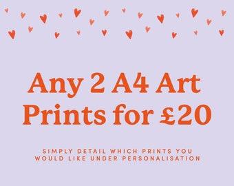 Multibuy A4 Art Print Set / 2 Piece Home Decor Poster / Wall Hanging Gift Set / Unframed Print Set