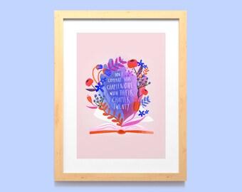 Positive Quote Wall Art Print A5, A4 / Inspiring Floral Book Home Decor / Hand Drawn Book Motivational Poster / Unframed Book Lover Art