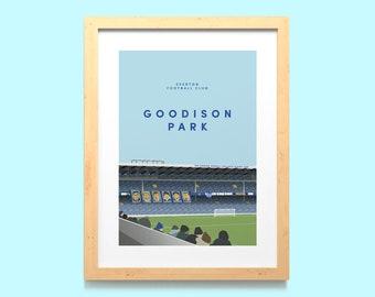 Goodison Park Everton Wall Art Print A5, A4, A3 / Howard Kendall Gwladys Street Illustrated Poster / EFC Home Wall Decor /Unframed