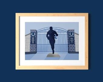 Dixie Dean Everton A5, A4 Art Print / Illustrated EFC Home Wall Decor / Evertonian Gift / Unframed