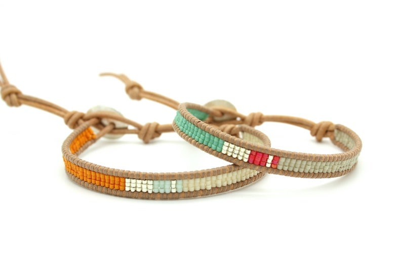 Two Colored Seed Beads Single Wrap Bracelet