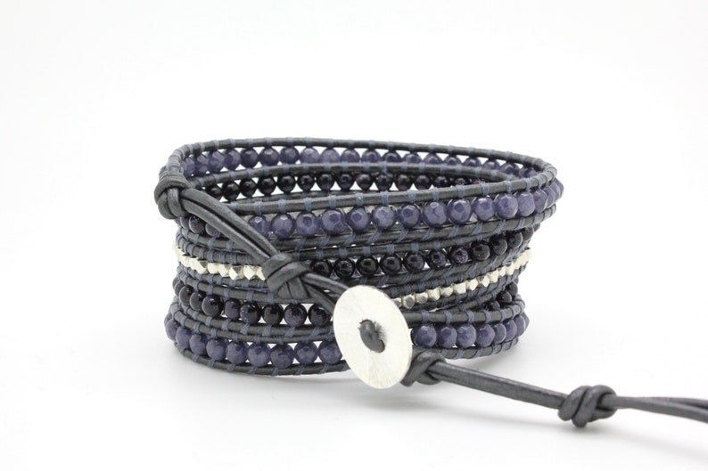 Sparkling Blue Sectioned Wrap Bracelet on Metallic Gunmetal Leather