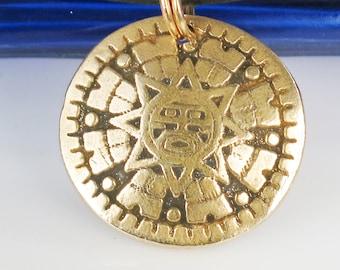 Southwest Aztec Sun God Bronze Pendant - Mexican Sun God Pendant Keyring - Southwest Tribal Sun God Bronze Pendant - Keyring - Necklace Gift