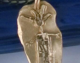 Southwest Feathered Shaman Bronze Pendant Gift - Petroglyph Feathered Shaman Bronze Pendant -Southwest Petroglyph Shaman Necklace - Key Ring