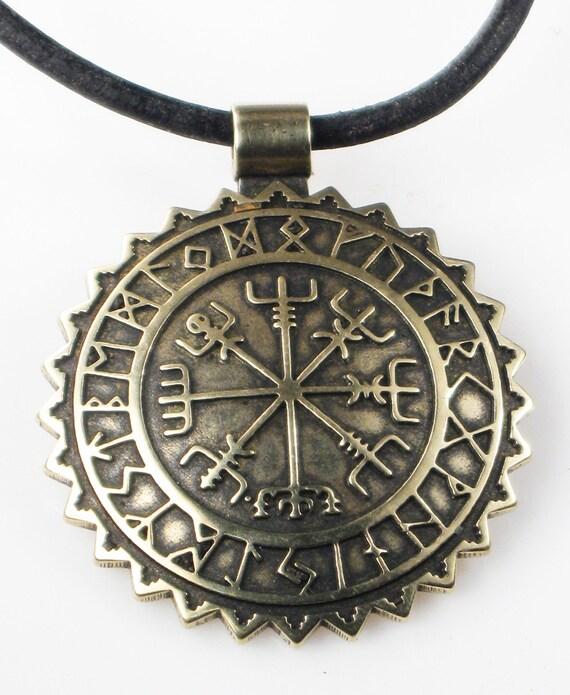 Viking Vegvisir Nautische Kompas Met Rune Kalender Bronze Etsy
