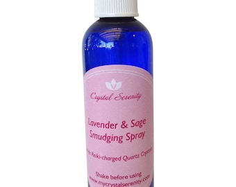 White Sage Spray: Lavender & Sage Smudging Spray - Quartz Crystals and Reiki Charged - Great for clearing negative energy  - 4 OZ.