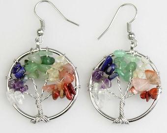 Chakra Tree of Life Gemstone Earrings - Reiki-charged