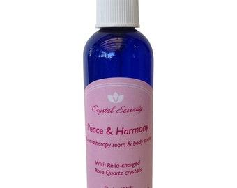 Peace & Harmony Aromatherapy Spray with Rose Quartz Crystals - Reiki-Charged 4 Oz