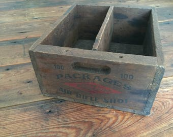 Vintage Western Air Rifle Shot Wooden Crate Ammo Ammunition Wood Red Storage Box Drop Chilled East Alton Illinois USA Eastern Cartridges Co.