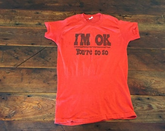 Vintage David Bowie I'm Ok You're So So Up The Hill Backwards Lyric Shirt Red Unisex Cotton Polyester Medium (38-40) Devknit