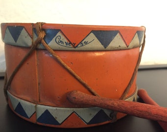 Vintage Converse Toy Drum Tin Litho Red/Orange White Blue Drumsticks Twine Kids 1900s