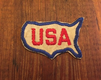 Vintage USA Patch Red White Blue United States of America Americana Patriotic Patriot States Hand Stitched Felt