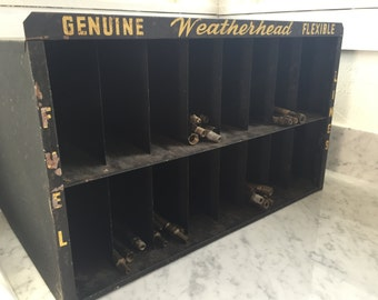 Vintage Weatherhead Parts Cabinet Shelf Shelving Cubby Black Yellow Storage Mail Fuel Line Industrial Automotive Auto Automobile Display