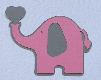 "20  (3"" x 2.4"") Pink and Grey -Elephant Cut Outs, Die Cuts - Set of 20 pcs - Party Decor"