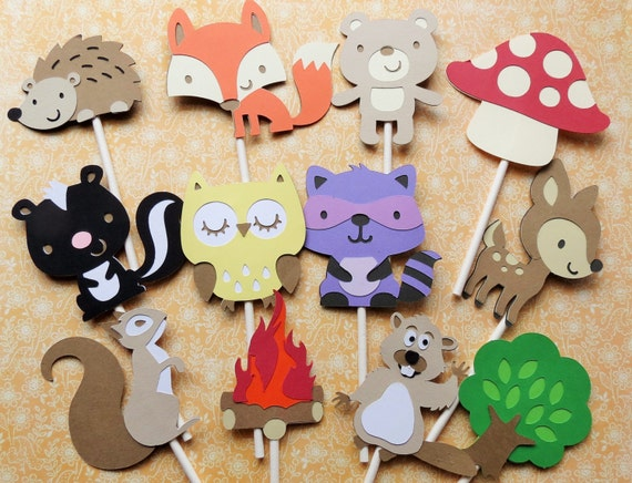 24 Woodland Cupcake Toppers Cupcake Toppers Woodland Party Etsy