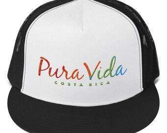 Pura Vida Costa Rica Trucker Cap Embroidered 8e3906e2067