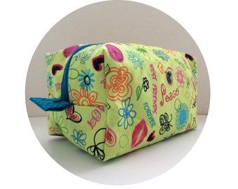 SALE: Large Waterproof Cosmetic Bag. Makeup Bag. Cute Best Friends Sayings Print Bag. Toiletry Bag. Zippered Bag.