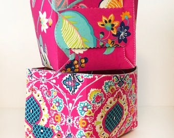 Pink Floral Fabric Basket Set. 2 Small Fold-Up Fabric Baskets. 2 Multi-purpose Baskets. Storage Bins. Small Storage Caddys