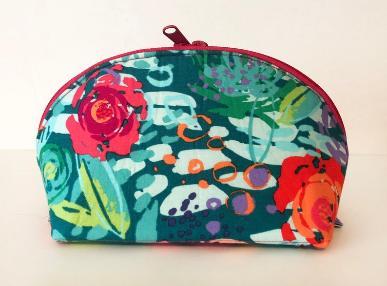 Large Cosmetic Clam Bag. Makeup Pouch. Cute Watercolor ...