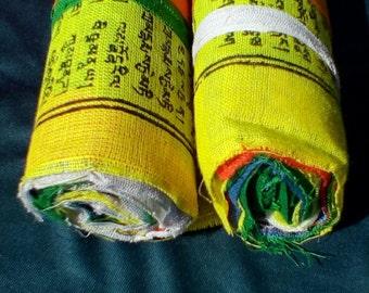 Tibetan Prayer Flag,10 Prayer Flags,Block Printed,Lung ta,Air Magic,Prayer Flag Bundle,Home made,Prayer Flags,Prayer Flag Roll,Pagan