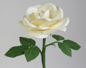 Paper Cotton Rose for Cotton Anniversary Gift for Her / White Cotton Flower for 2nd Anniversary Gift for Her