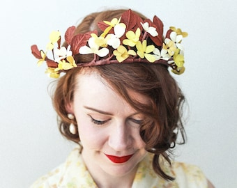 Vintage Wedding Paper Flower Crown / Yellow and Brown Blossom Flower Halo / Paper Flower Wreath for Zoom Wedding
