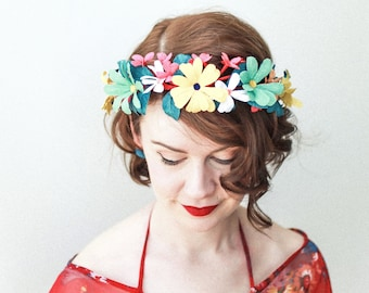 Boho Floral Crown for Bachelorette Party / Retro Inspired Bridal Flower Crown with Paper Flowers / Hippie Floral Wreath for Bridal Shower