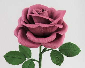 Pink Rose Just Because Gift for Her / Dusty Pink Paper Rose I Love You Gift