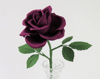 Purple Rose Just Because Gift for Her / Purple Paper Rose I Love You Gift for Partner