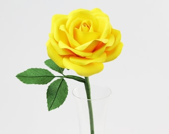 Yellow Cotton Rose for 2nd Anniversary Gift / Yellow Cotton Paper Rose Cotton Anniversary Gift for Her