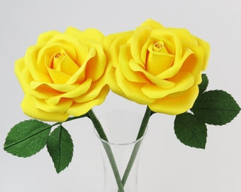Yellow Cotton Rose Bouquet 2nd Anniversary Gift for Her / Yellow Cotton Paper Rose Cotton Anniversary Gift for Her