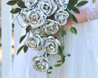 Teardrop Wedding Bouquet with Manuscript Paper Roses
